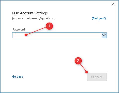 La page de mot de passe des paramètres POP.