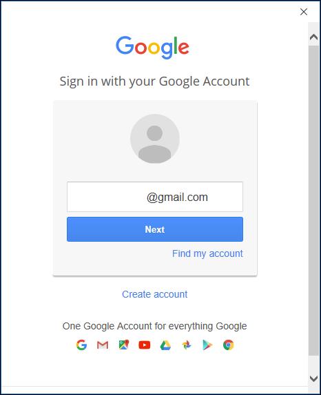 La page de connexion Google.