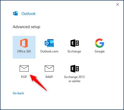 """Outlook """"Configuration avancée"""" panneau."""