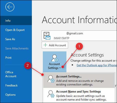 """Outlook """"Paramètres du compte"""" option"""