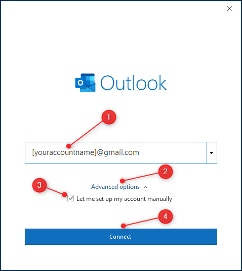 """La zone de texte pour saisir votre adresse e-mail avec """"Options avancées"""" Souligné."""
