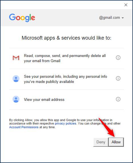 Page de confirmation d'accès au compte Google.