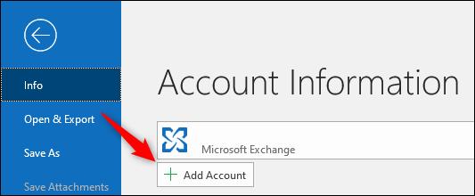 """Outlook """"Ajouter un compte"""" bouton."""