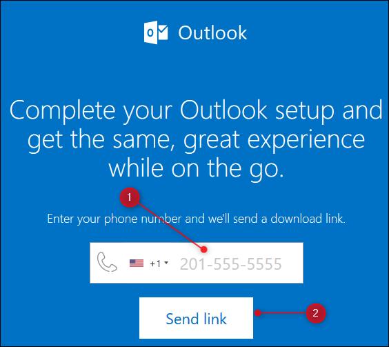 La page Web Outlook qui envoie un lien vers l'application mobile Outlook.