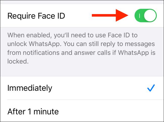 "Activer / désactiver ""Exiger Face ID."""