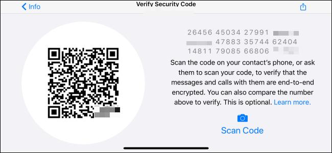 """Le """"Vérifier le code de sécurité"""" menu dans WhatsApp."""