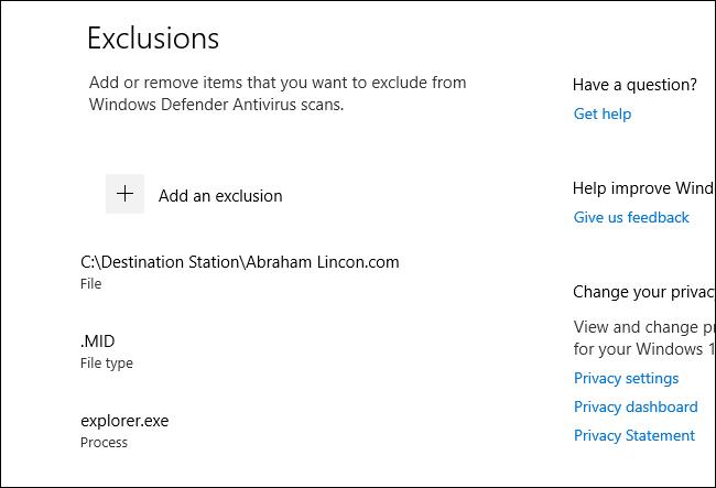 Une liste des exclusions d'analyse de Windows Defender dans Windows 10