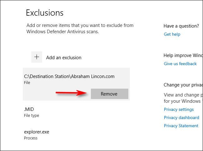 Suppression d'une exclusion des paramètres d'analyse de Windows Defender dans Windows 10