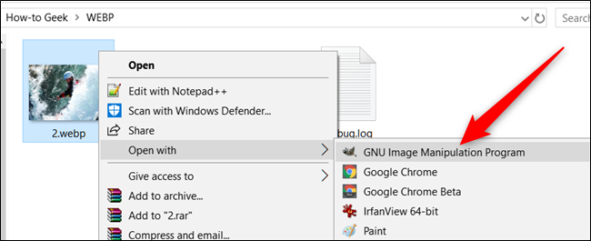 Ouvrez un WebP avec une autre application sous Windows