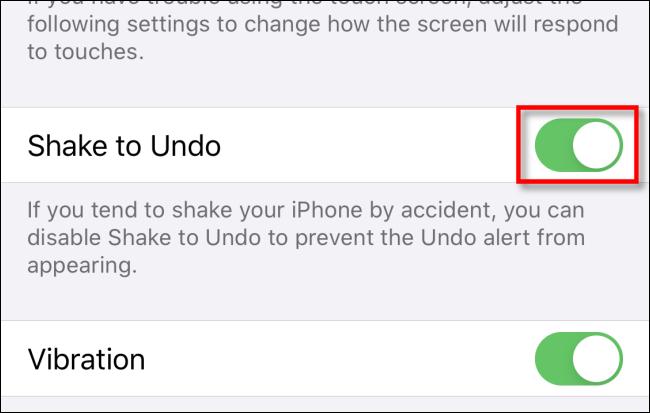 Appuyez sur Secouer pour annuler le basculement dans les paramètres sur iPhone ou iPad