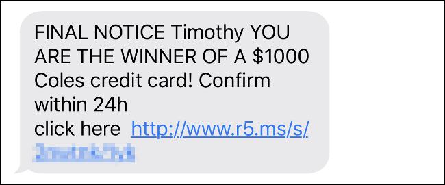 Une escroquerie par SMS utilisant le prénom de l'auteur.