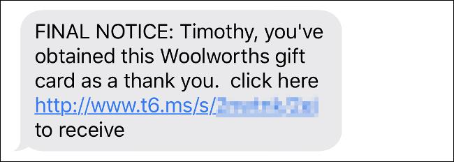 """Une escroquerie par SMS pour un """"Carte cadeau"""" gagnant avec de nombreuses erreurs de grammaire."""