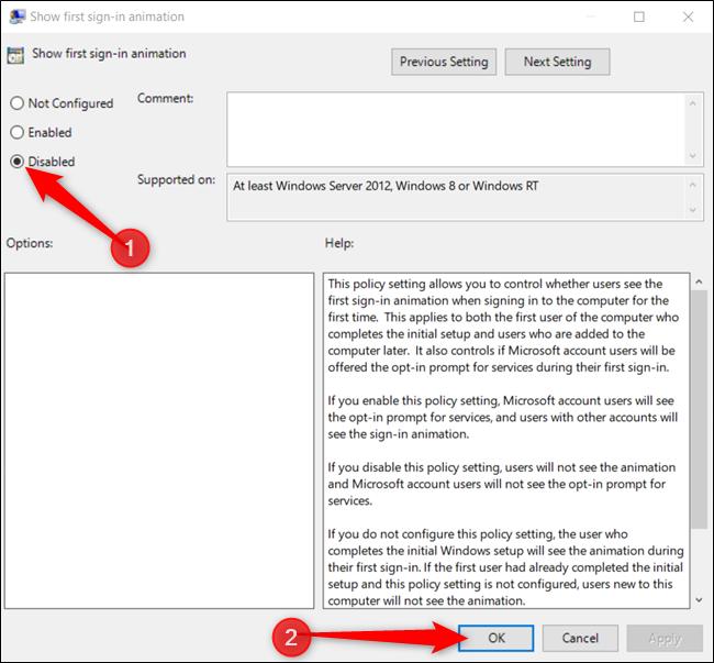 """Clique le """"Désactivée"""" option, puis cliquez sur """"d'accord"""" pour enregistrer les modifications."""