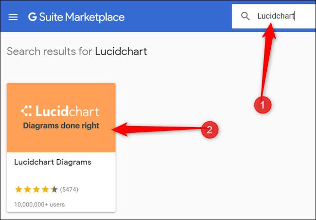 """Taper""""LucidChart"""" dans la barre de recherche, appuyez sur Entrée, puis cliquez sur l'icône LucidChart."""