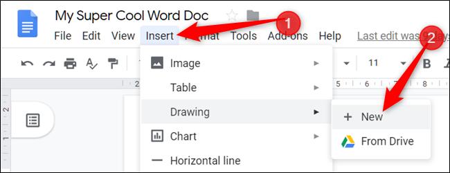 """Cliquez sur """"Insérer,"""" sélectionner """"Dessin,"""" puis cliquez sur """"+ Nouveau."""""""