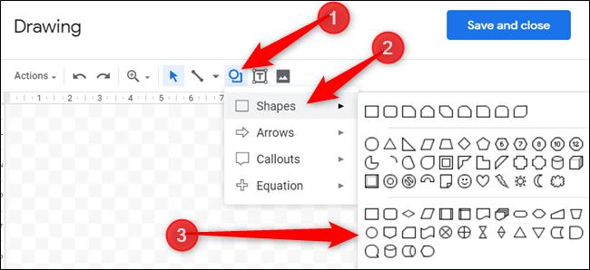 """Cliquez sur l'icône avec un cercle au-dessus du carré, survolez """"Formes,"""" puis cliquez sur la forme souhaitée."""