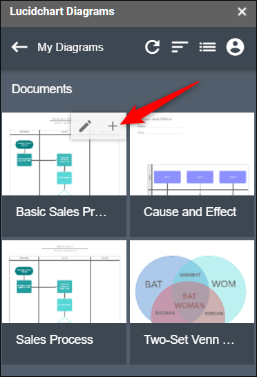 Cliquez sur le signe plus (+) pour insérer un diagramme dans votre document.