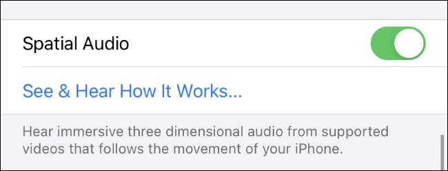 Activation et test de Spatial Audio sur un iPhone.