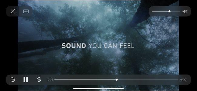 Une vidéo de test Dolby Atmos lue sur un iPhone.