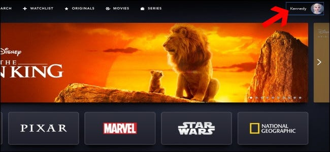 Page d'accueil de Disney +