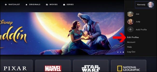 Disney + Modifier les profils