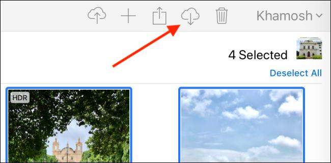 Cliquez sur le bouton Télécharger dans iCloud.