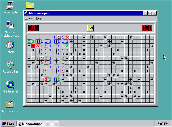 """Dragueur de mines"" en mode Expert sous Windows 95."