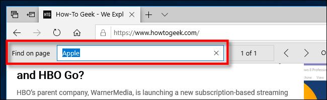 Rechercher en page dans Edge sur PC