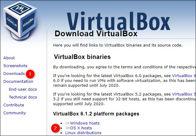 """Cliquez sur """"Téléchargements"""" et """"Hôtes OS X"""" sur le site Web de VirtualBox."""