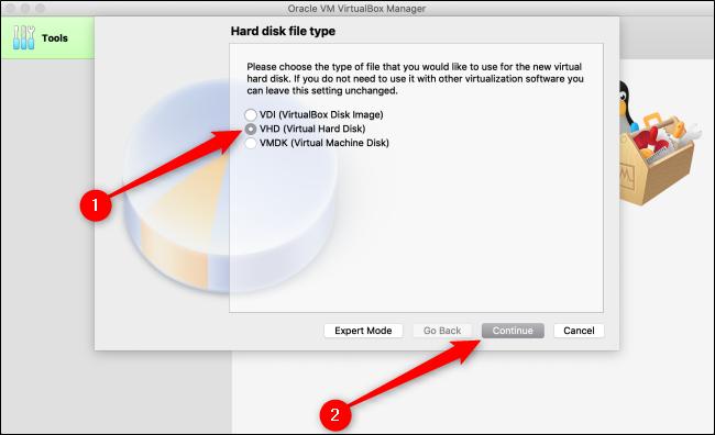 """Sélectionner """"VHD (disque dur virtuel),"""" puis cliquez sur """"Continuez."""""""