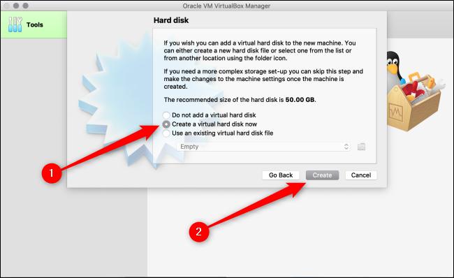 """Sélectionner """"Créez un disque dur virtuel maintenant,"""" puis cliquez sur """"Créer."""""""