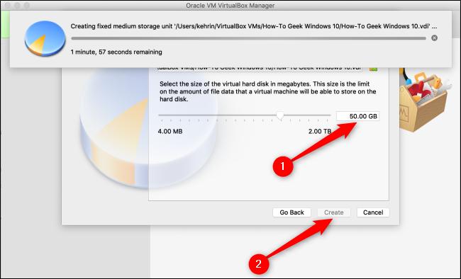 """Choisissez une taille pour le disque dur virtuel, puis cliquez sur """"Créer."""""""