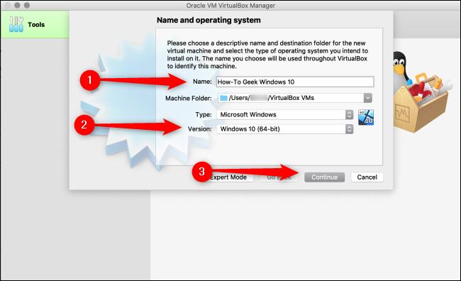 """Tapez un nom pour votre système d'exploitation, sélectionnez un """"Version"""" dans le menu déroulant, puis cliquez sur """"Continuez."""""""