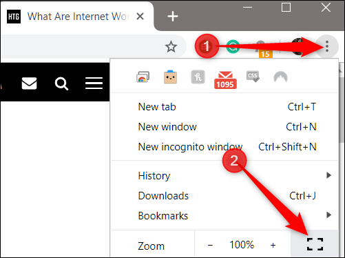 Cliquez sur l'icône du menu, puis cliquez sur l'icône du mode plein écran