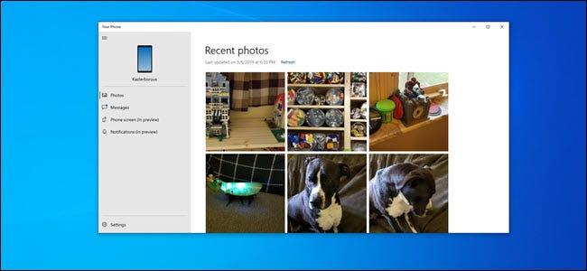 Votre application Phone PC affichant des photos d'un téléphone Android