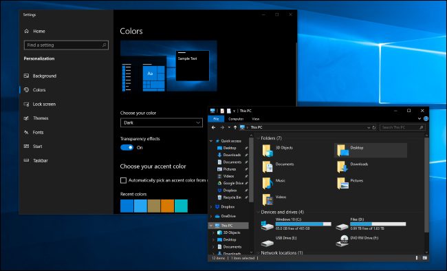 Mode sombre dans les applications Paramètres et Explorateur de fichiers de Windows 10
