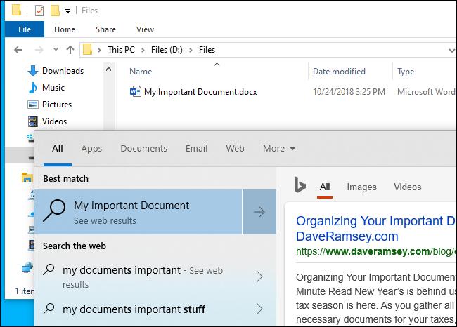 La recherche de fichiers de Windows 10 ne trouve pas de fichier
