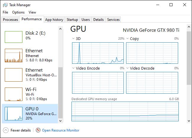 Statistiques d'utilisation du GPU dans le gestionnaire de tâches de Windows 10