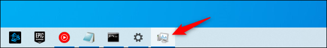 Icône de raccourci de la barre des tâches du Gestionnaire des tâches.