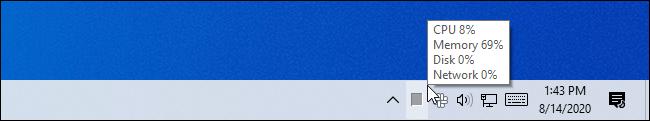 Compteur d'utilisation du processeur du gestionnaire de tâches dans la barre d'état système de Windows.