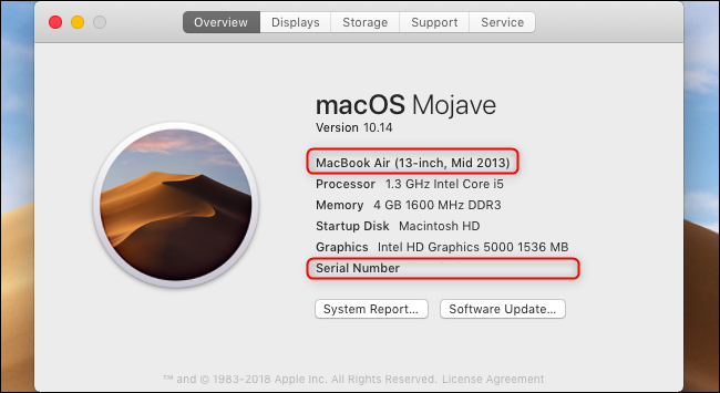 Numéro de modèle et numéro de série du MacBook affichés dans la fenêtre À propos de ce Mac.