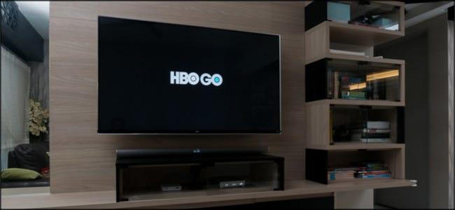 Logo HBO Go sur un téléviseur grand écran.