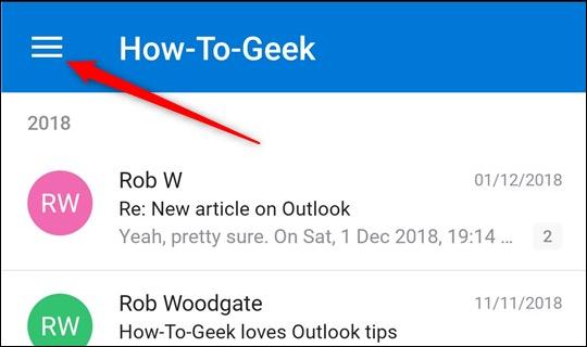 L'icône de hamburger dans l'application de messagerie Outlook