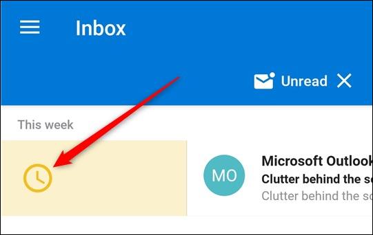 L'action de planification appliquée à un e-mail dans la boîte de réception