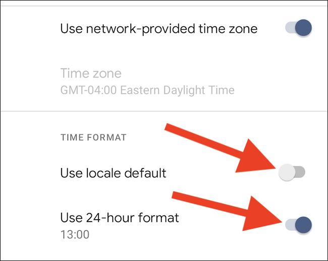 """Désactiver """"Utiliser les paramètres régionaux par défaut"""" et activer """"Utiliser le format 24 heures"""""""