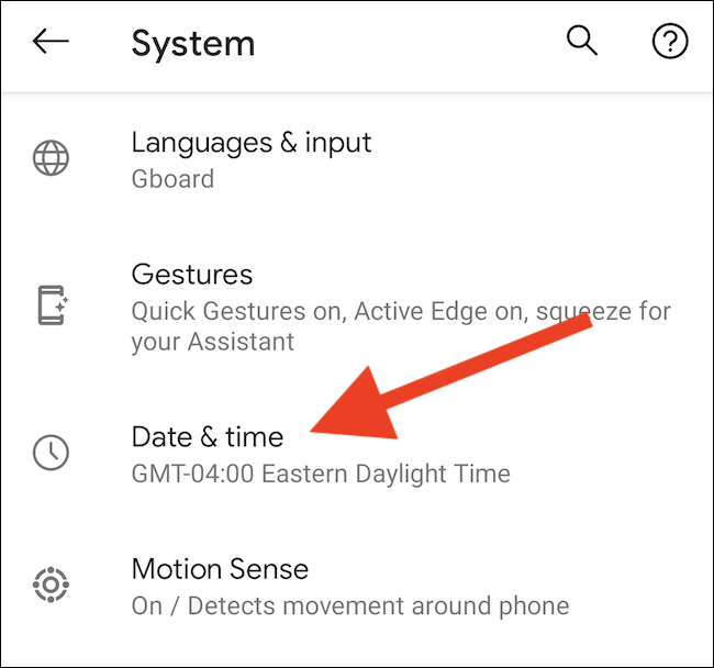 """Appuyez sur le """"Date et heure"""" option"""