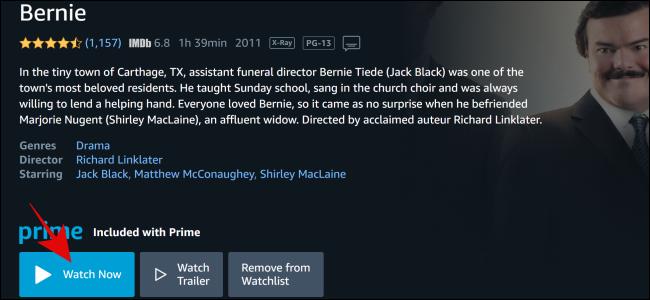 """Sélectionner """"Regarde maintenant"""" sur Amazon Prime Video."""