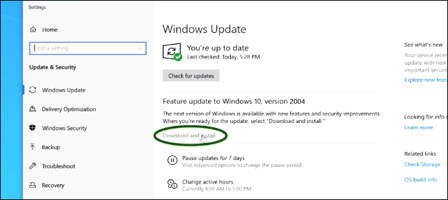 Installation de la mise à jour de mai 2020 à partir de Windows Update