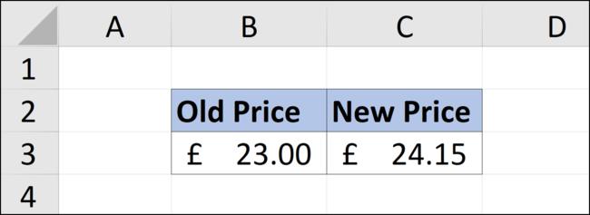 Augmenter une valeur de cinq pour cent dans une feuille de calcul Excel.