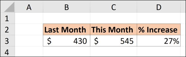 Le pourcentage de différence entre ce mois et le mois dernier dans une feuille de calcul Excel.